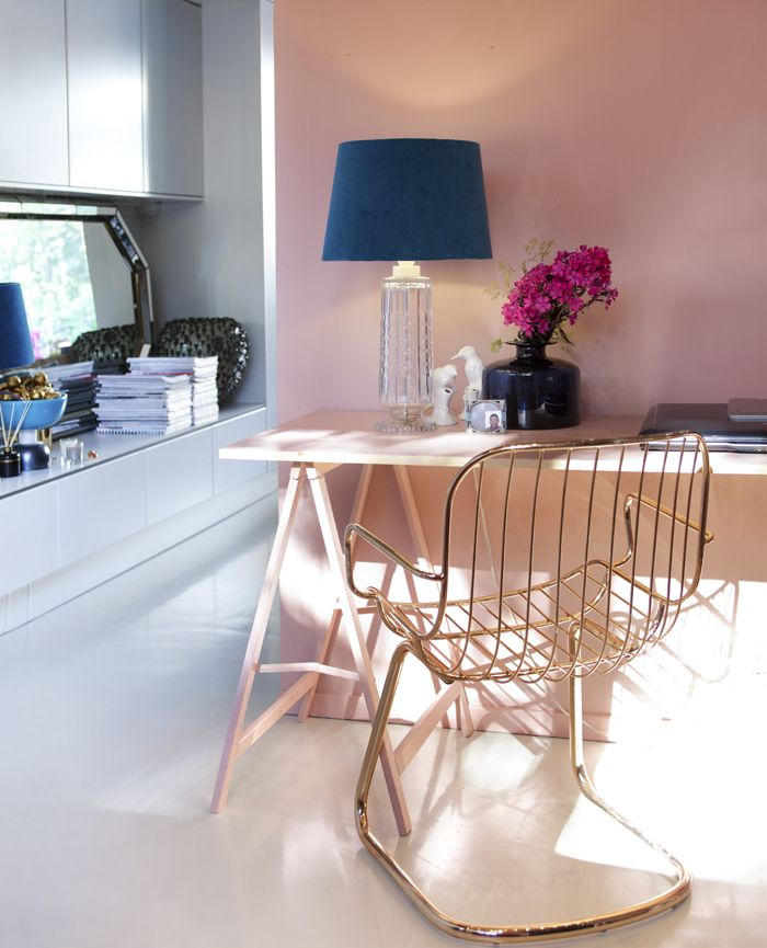 a mad tea party with alisWall Colors, Gold Chairs, Desks Chairs, Offices Spaces, Work Spaces, Pink Wall, Offices Workspaces, Home Offices, Rose Gold