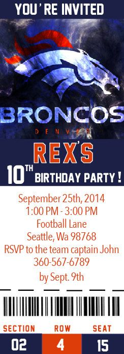 denver broncos NFL Custom Party Ticket by Onthegoprints on Etsy