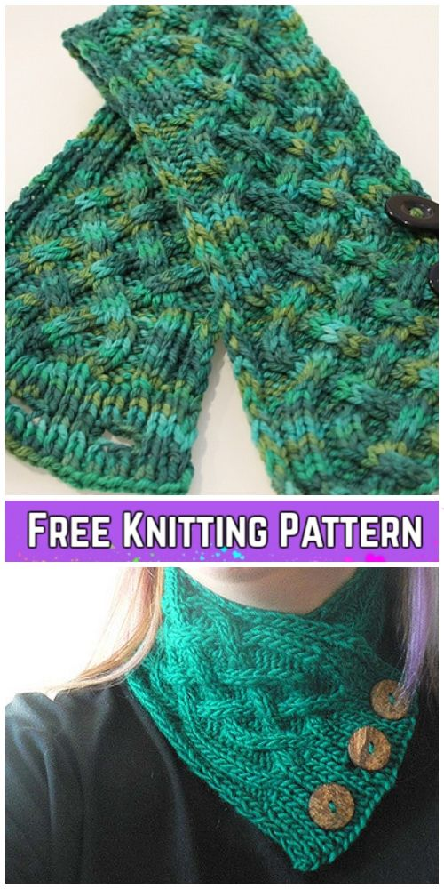 Knit Celtic Cable Neckwarmer Scarf Free Knitting Pattern en 2018 ...