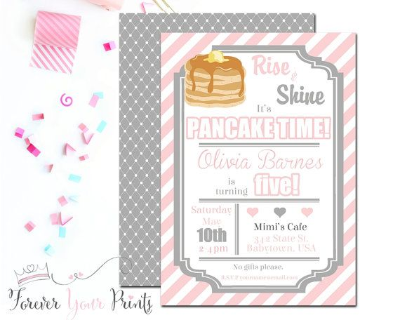 Pancakes and Pajamas Invitation Pancakes and by ForeverYourPrints