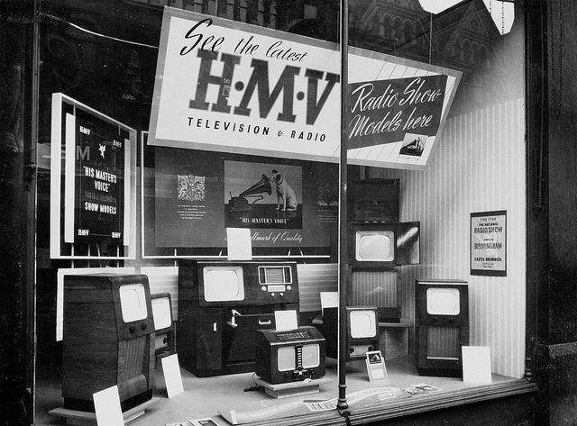 hmv 363 Oxford Street, London - TV window display 1950s