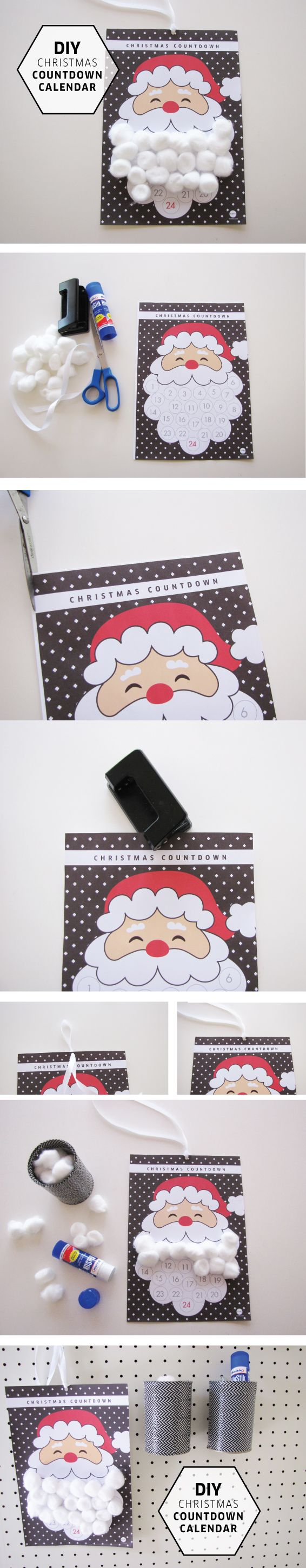 Free Santa's Beard Christmas Calendar Printable on TOMFO. Add a cotton wool ball to make santa's beard, once the beard is made Santa will be arriving the next morning. Super quick to do with a free printable, also a blue version of the same on this blog! A great advent calendar that's fun and doesn't involve chocolate! love!