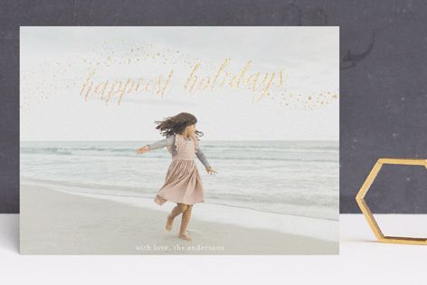 """""""shimmery happy holidays"""" - Bohemian Foil-pressed Holiday Cards in Crystals by Phrosne Ras."""