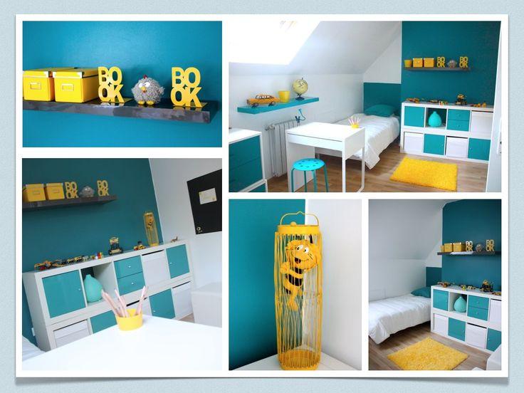 Les 25 meilleures id es concernant chambre d 39 enfants orange et bleue sur pinterest cr che bleu for Chambre garcon bleue