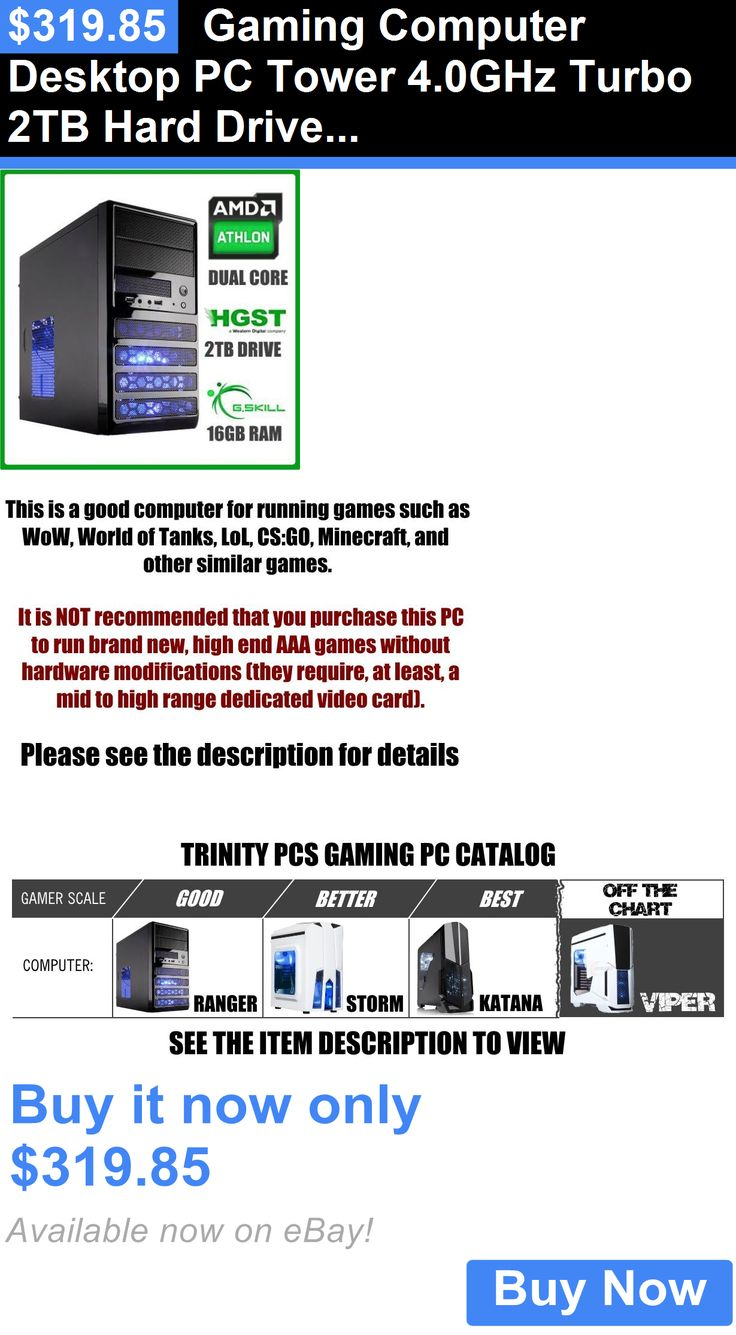 Computers Tablets Networking: Gaming Computer Desktop Pc Tower 4.0Ghz Turbo 2Tb Hard Drive 16Gb Ram BUY IT NOW ONLY: $319.85
