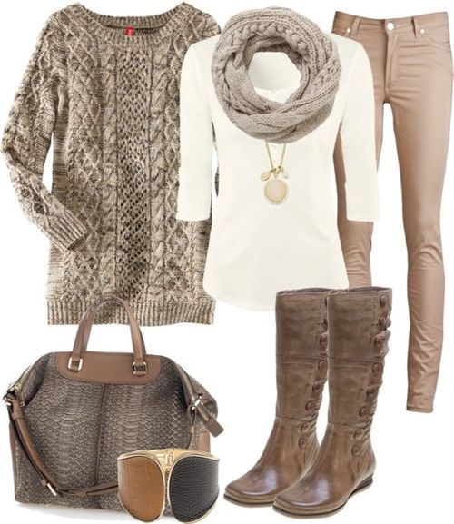 1. NUDE JEANS  2. White 3/4 shirt  3. Neutral chunky sweater  4. Bangle  5. Scarf  6. Boots  7. Neutral bag  8. Long necklace