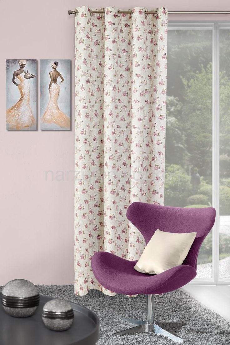 Dekoracyjne gotowe kremowe zasłony w fioletowe kwiatuszki