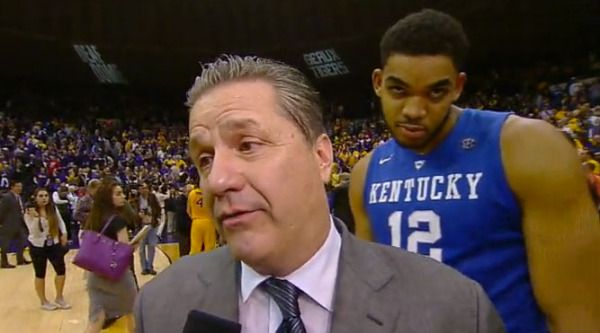 Happy Birthday, Swaggy Cal!! A Karl Anthony Towns photobomb, the return of Trey Lyles, and the WIN. UK beats LSU 71-69 to go 24-0. 2/10/2015 #BBN #gobigblue