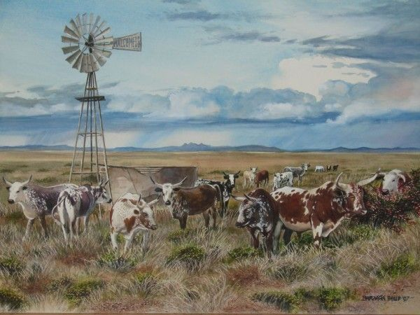 Malcomess Ngunis Cattle by Barbara Philip ~ watercolor countryscape windmill