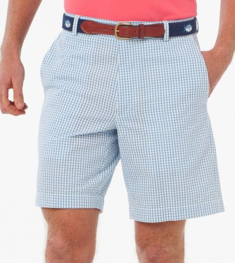 Seersucker shorts with a southern belt and fitted polo.