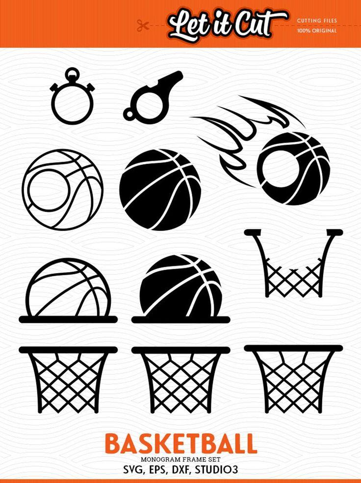 Basketball SVG Monogram Frames Svg Eps Dxf Studio3 Etsy