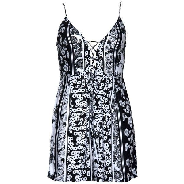 Smock Lace Up Playsuit in Garden Stripe Black and White by Motel (390 UYU) ❤ liked on Polyvore featuring jumpsuits, rompers, black and white rompers, plunge neck romper, striped romper, stripe romper and lace up romper