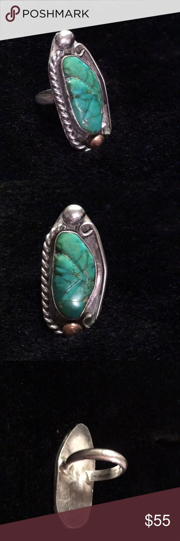 Vintage Southwestern Turquoise Gorgeous old turquoise ring that was sold to me as sterling silver and copper. Im inexperienced with testing but presumably its testing positive for me. At any rate its definitely a beautiful old ring with a lovely stone and Id love to see it go to a home where it would get more attention than I have provided. Very boho/hippie chick! Jewelry Rings #SterlingSilverBoho