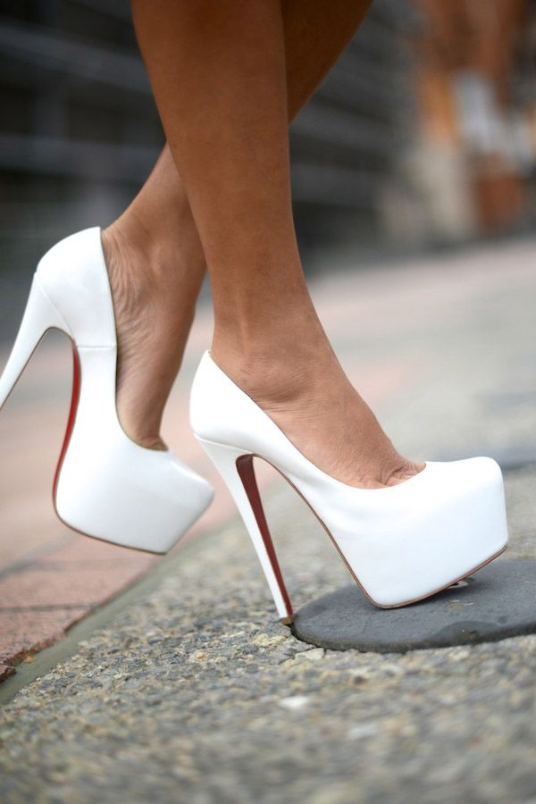 Christian Louboutin white patent daffodile, wish I could wear something like this