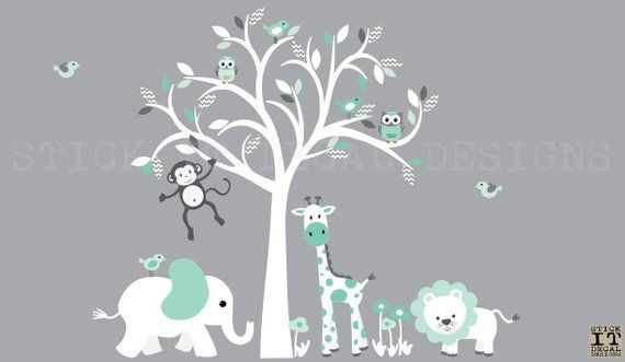 Mint Nursery Wall Decal Safari Animal Wall Decal Nursery Wall