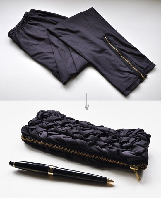 Pants to purse / pencil case . How creative!