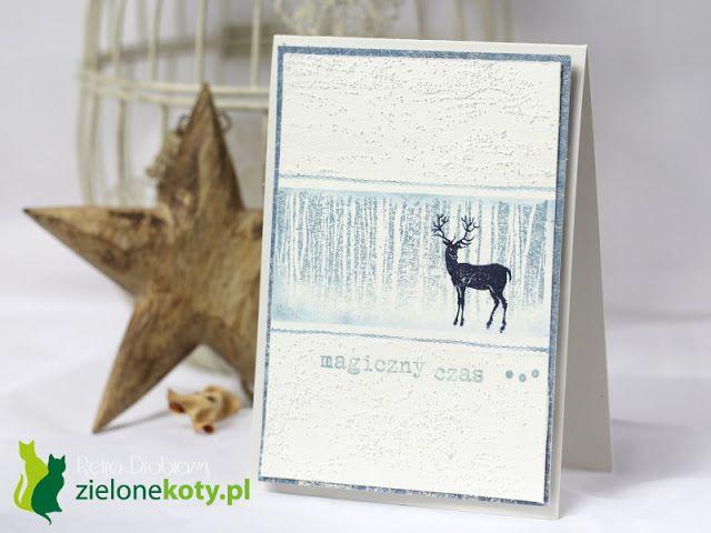 CAS stamping Christmas card deer