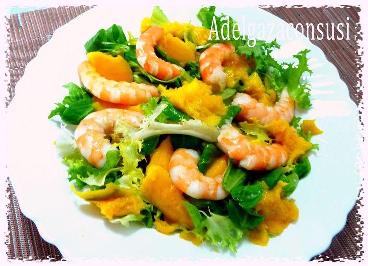 Recetas Light - Adelgazaconsusi: Ensalada de langostinos y mango con salsa de naranja especial navidad