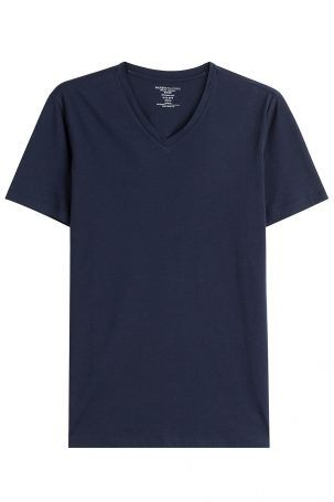 Majestic Majestic V-Neck-Shirt aus Baumwolle – Blau