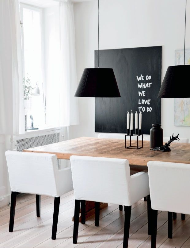 Chalkboard Wall Art// Black and White Dining Room//
