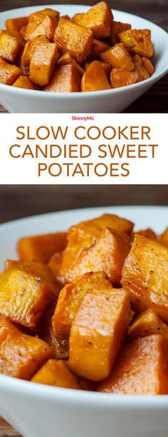 It's really time to start meal prepping for the big feast! Slow Cooker Candied Sweet Potatoes are definitely one of my favorite parts of our Thanksgiving dinner and they'll be your favorite too! #healthysides #thanksgiving #sweetpotatoes