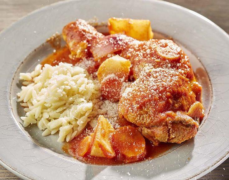Kippenstoofpotje met wintergroenten en Griekse pasta