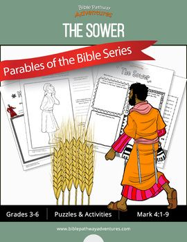 Bible Parable: The Sower workbook for kids | Parables of Jesus (Yeshua) | Coloring pages, quizzes, and puzzles