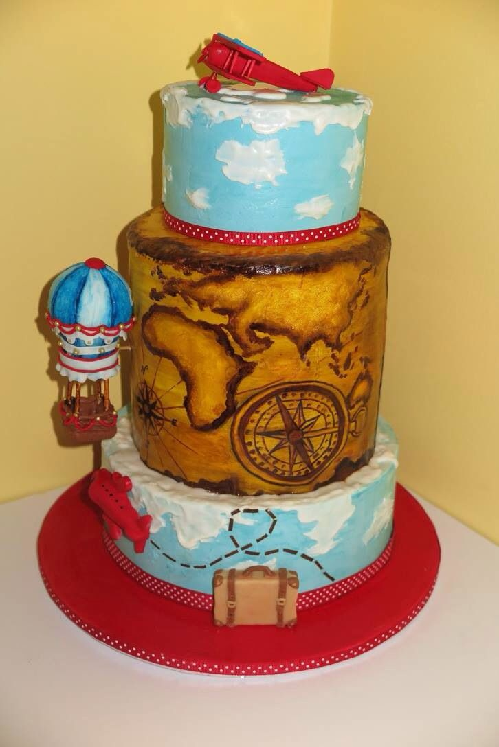 Round the world Cake. Hand painted antique world map and hand made modeling chocolate elements