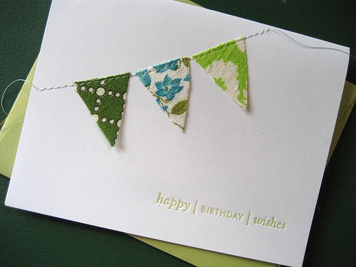 invites - great for baby showers - include fabrics matching color of the room.  Can do different shapes, stars, flowers...