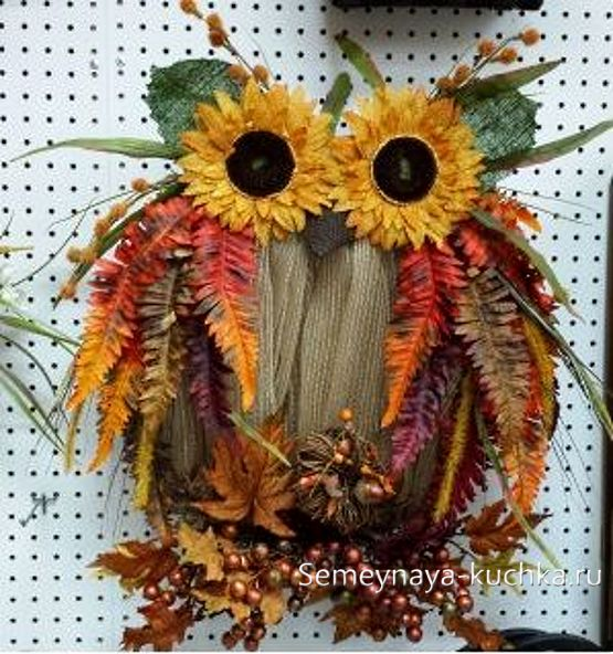 поделка сова из природного материала   Осенние поделки ...