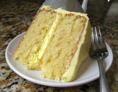 High Altitude Yellow Cake with Lemon Buttercream Frosting. Cake is formulated for 5000 feet above sea level.