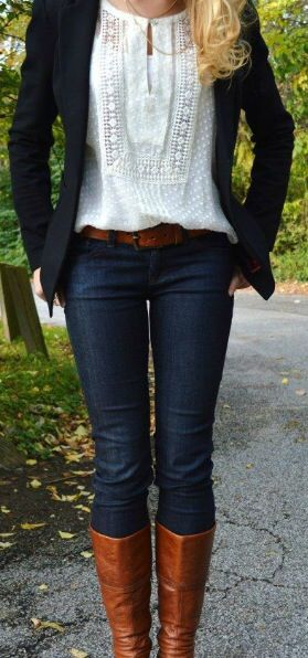 This is a dream outfit! Can I have this as a stitch fix box? boots, jeans, shirt, jacket, belt. That's 5! :)