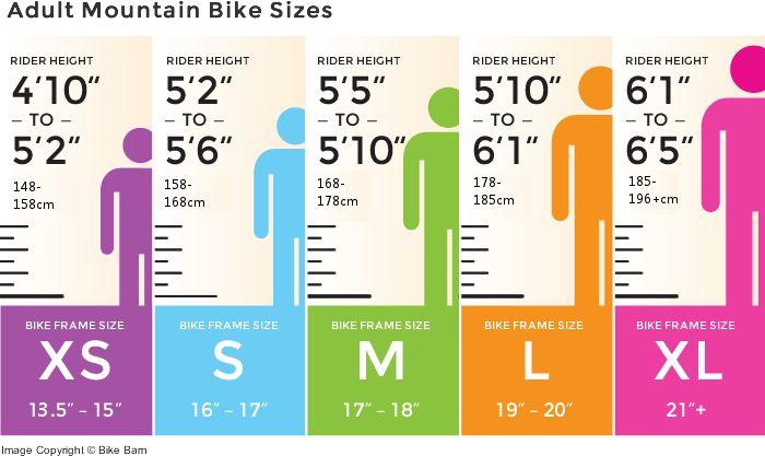 mountain bike sizing chart