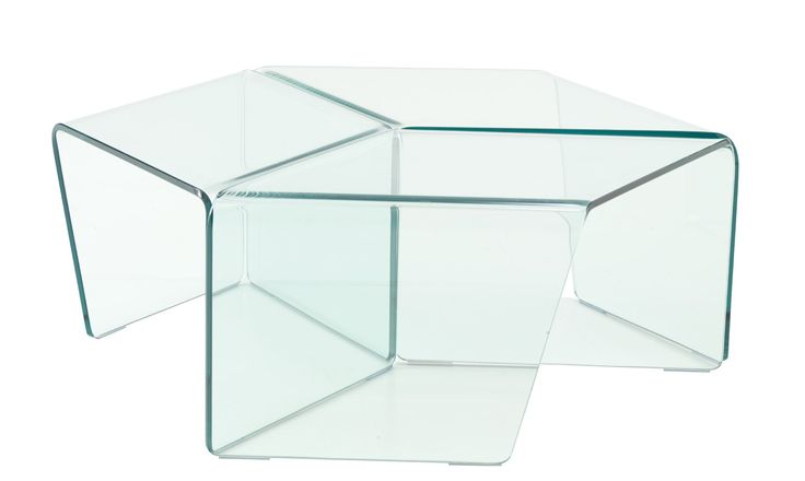 ROSIS set of 3 angled glass tables that can be arranged in a row, in a neat circle or split up Dims: As a  circular table approx. 88 diam x H 31cm Each one W 41 x D 64 x H31 cm
