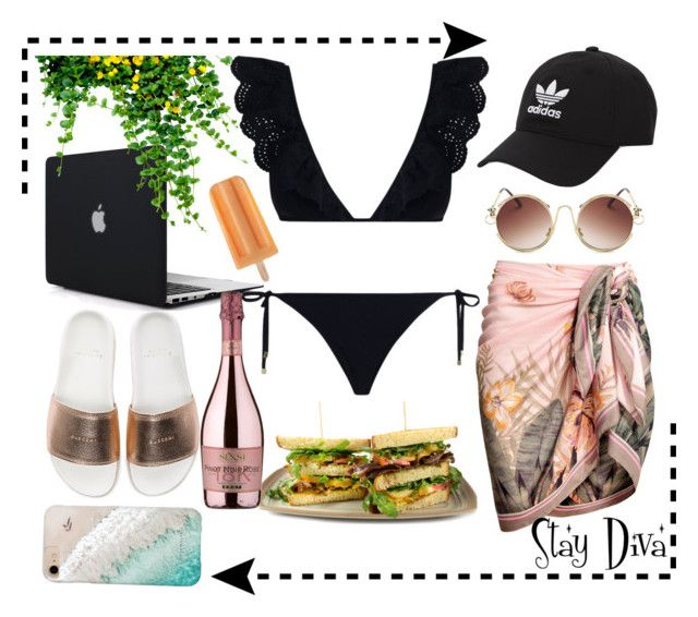 """Pool Day"" by staydiva ❤ liked on Polyvore featuring BUSCEMI, adidas Originals, SENSI, Zimmermann and Gray Malin"