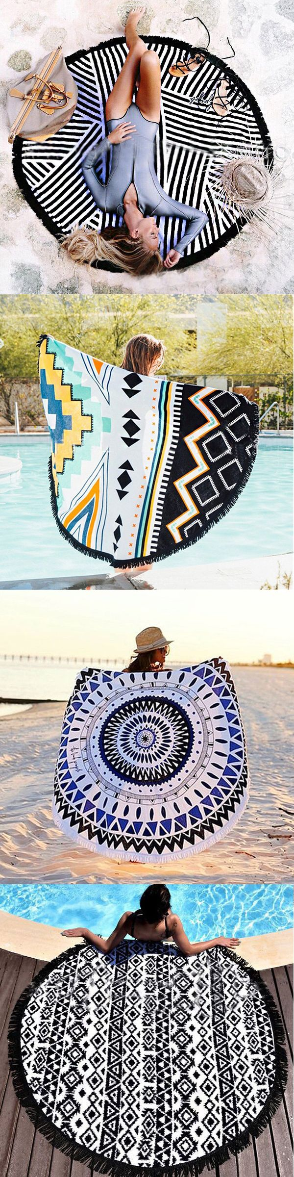 $17.28 European Style Polyester Fiber Beach Yoga Towel Round Bed Sheet Tapestry Tablecloth