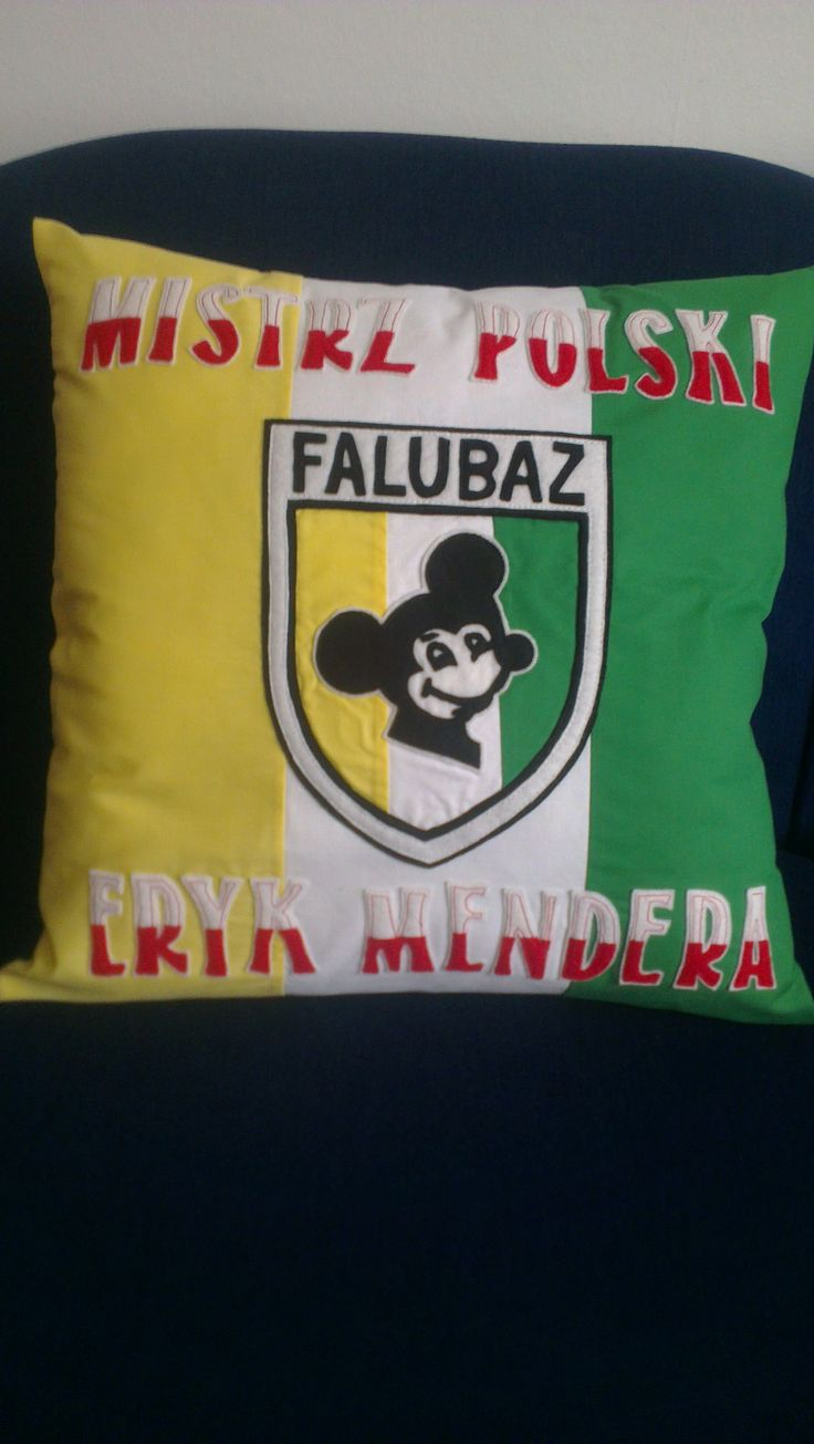 """pillow for a very young fan of Polish speedway team """"Falubaz"""" (made to order)"""