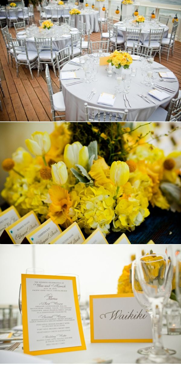 Silver chiavari chairs with yellow