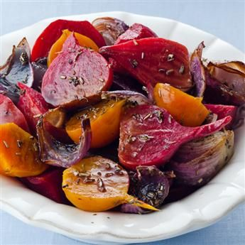 ROASTED BALSAMIC BEETS -  3 1/2 lb assorted small beets, 3 small red onions, 1 T olive oil, 1 1/2 tsp Rosemary, 1 1/2 tsp Thyme Leaves, 1/2 tsp Sea Salt, 2 T balsamic vinegar