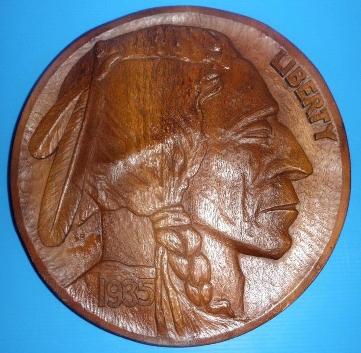 LARGE CARVED 1935 INDIAN HEAD NICKEL HANGING WALL PLAQUE Coin Store Home Decor