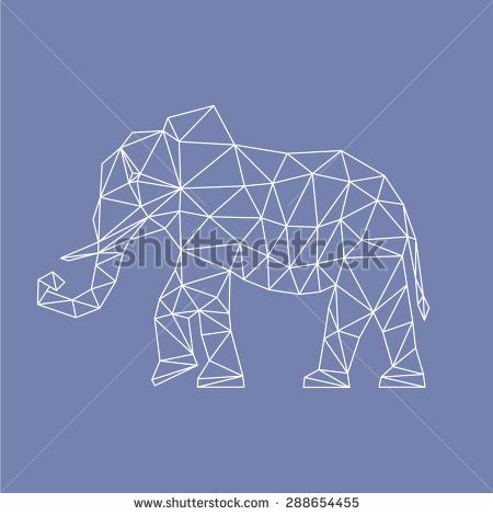 abstract elephant made of polygons triangles of different sizes