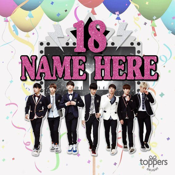 Check Out This Item In My Etsy Shop Https Www Etsy Com Ca Listing 644259426 Bts Custom Name Kpop Cake Topper Korean Bts Cake Handmade Cake Topper Topper