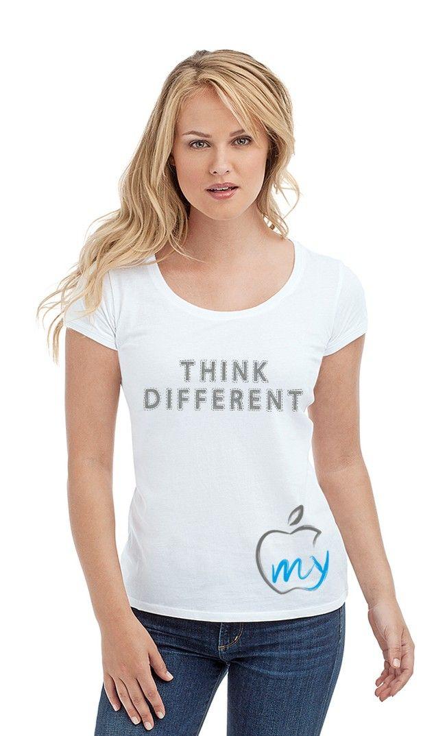 Футболка LOVE MY APPLE. Женские футболки прикольные с надписями и принтами.