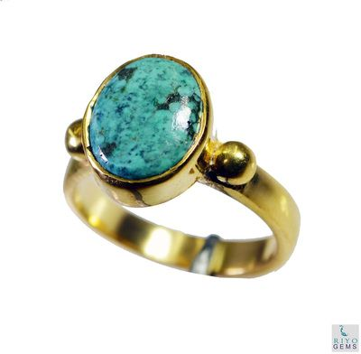 Riyo Turquoise 18kt Y Gold Plating Ecclesiastical Ring Sz 7 Gprtur7 82141 Rings on Shimply.com