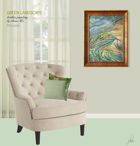 #abstractpainting #abstractart #green #turquoise #blue #landscape #painting #landscapepainting #greenlandscape #original #leatherpainting #leather #art #homedecor #wallaart #artnouveau #leatherart #artdecor #polyvore