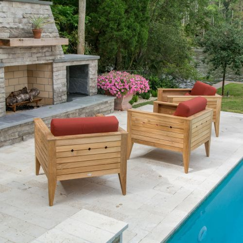 The Craftsman Teak Lounge Set for 3 makes a bold yet simple statement in any environment, from outdoor loggia to the living room. The transitional design of this deep seating lounge chair mixes a solid classic functionality with a modern clean aesthetic. Generously proportioned, this chair ensures hours of comfort, whether indoors or out.