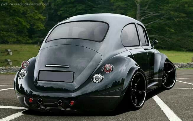 """VW Beetle with stretched & rounded fenders, that seem to give the """"One Piece"""" look to the rear ..."""