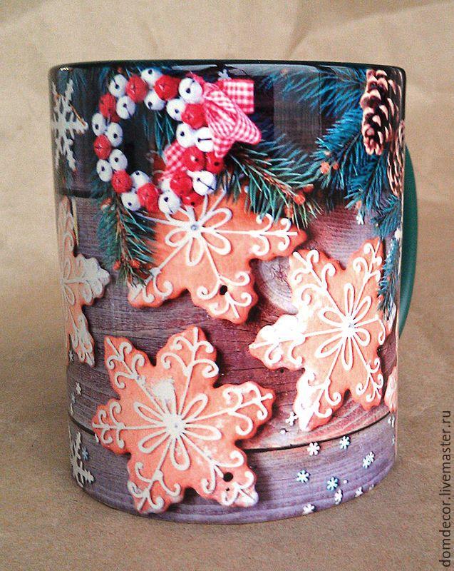 """Купить Чашка """"Рождественская звезда"""" - комбинированный, зеленый, коричневый, бежевый, пряники, звезда, Новый Год"""