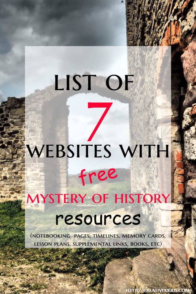 These 7 websites have sets of free notebook pages, free memory cards, free timeline characters, free supplemental books and videos, free lesson plans, and more for the Mystery of History curriculum. Many of these resources can also be used for other history curriculums.