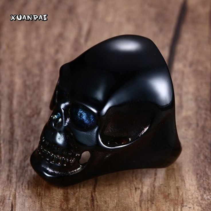 Men's Large Heavy Stainless Steel Black Skull Ring for Men Vintage Gothic Cool Punk Biker Band Jewelry